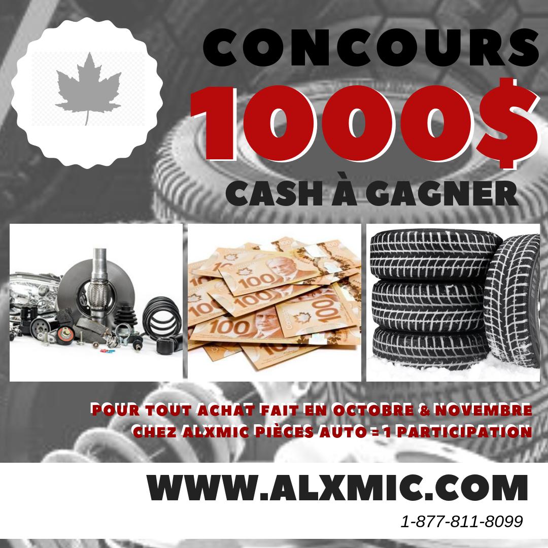 concours tirage de 1000 cash chez alxmic pi ces auto alxmic performance. Black Bedroom Furniture Sets. Home Design Ideas